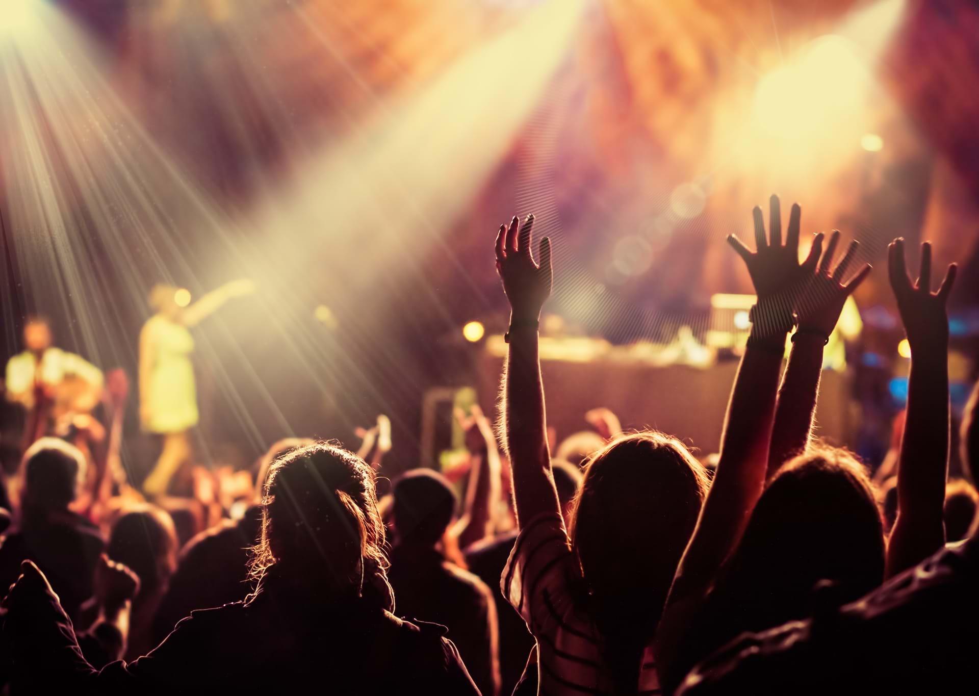 Hænder i vejret til en koncert